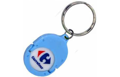 Porte clés publicitaires personnalisés porte jetons pvc
